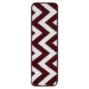 Modern Collection Red-White 9 in. x 28 in. Polypropylene Stair Tread Cover (Set of 13)