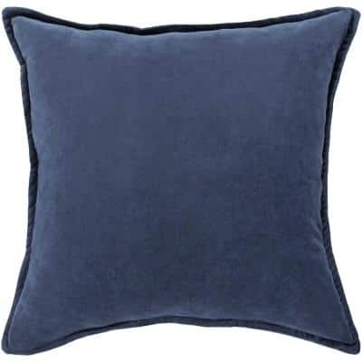 Velizh Navy Solid Polyester 19 in. x 20 in. Throw Pillow