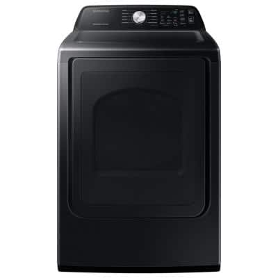 Large 7.4 cu. ft. Capacity Brushed Black Electric Dryer with Sensor Dry