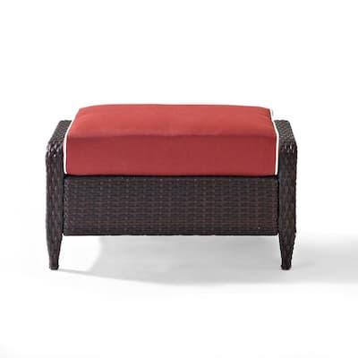 Kiawah Wicker Outdoor Ottoman with Sangria Cushion