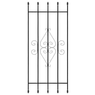 24 in. x 54 in. Su Casa Black 5-Bar Window Guard