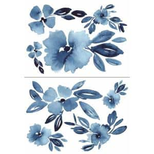 Clara Jean Blue April Showers Flowers Peel and Stick Giant Wall Decals