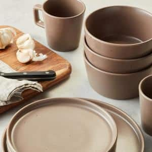 16-Piece Round Dishes for 4, Brown Speckled Celina Stoneware Dish Set