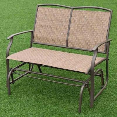 2-Person Brown Metal Outdoor Glider Bench Armchair Backyard