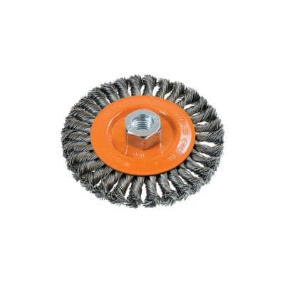 5 in. W Wheel Brush with Knot-Twisted Wires 5/8 in. - 11 in. Arbor