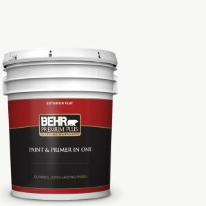 Behr Premium Plus 5 Gal Ultra Pure White Flat Exterior Paint And Primer In One 405005 The Home Depot