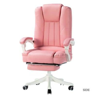 Bella Pink Faux Leather Swivel Gaming Chair with Arms