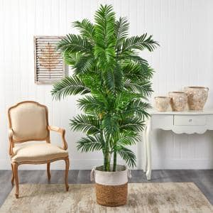 6 ft. Green Curvy Parlor Artificial Palm Tree in Handmade Natural Jute and Cotton Planter