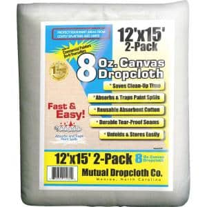 12 ft. x 15 ft. 8 oz. Natural Canvas Drop Cloth (2-Pack)