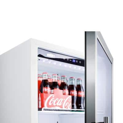 22 in. 9 cu. ft. Commercial Refrigerator in White with Glass Door