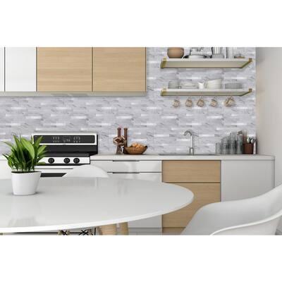 Metallic Tiles Marble White 11.5 in. W x 11.75 in. H Peel and Stick Decorative Metallic Wall Tile Backsplash (6 Tiles)