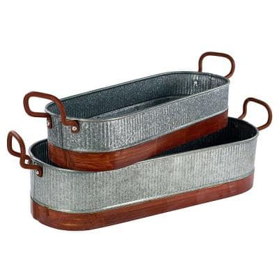 4.4 in. Dia Gray and Brown Metal Planters with Ribbed Body (Set of 2)