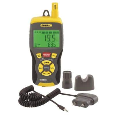 9-in-1 Thermo-Hygrometer Pin/Pinless Moisture Meter with Probe and Carry Case