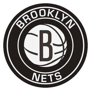 NBA Brooklyn Nets Black 2 ft. x 2 ft. Round Area Rug