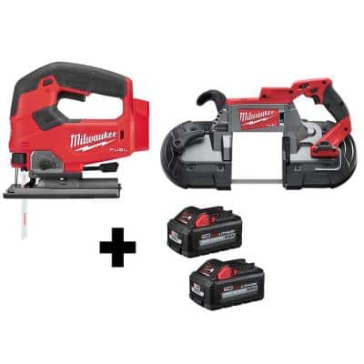 M18 FUEL 18-Volt Lithium-Ion Brushless Cordless Jig Saw and Band Saw with (2) 6.0Ah Batteries