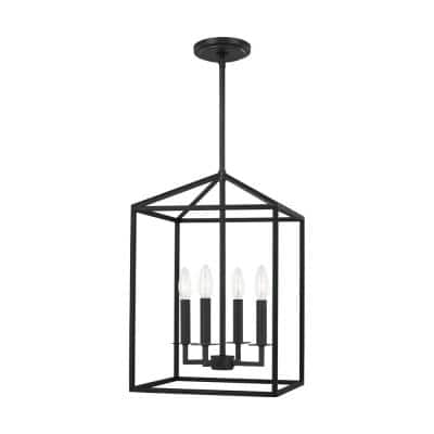 Perryton Small 12.25 in. 4-Light Smooth Midnight Matte Black Modern Transitional Candlestick Pendant