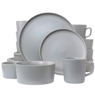 Luxmatte 20-Piece Light Grey Stoneware Dinnerware Set (Service for 4)