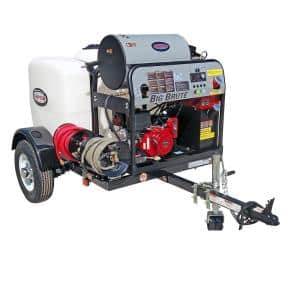 95005 4000 PSI at 4.0 GPM HONDA GX390 with COMET Triplex Plunger Pump Hot Water Professional Gas Pressure Washer Trailer