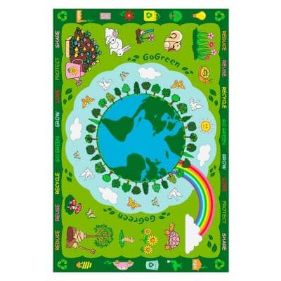 Fun Time Go Green Multi Colored 3 ft. x 5 ft. Area Rug
