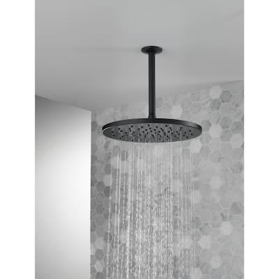 1-Spray 11.8 in. Single Wall Mount Fixed Rain Shower Head in Matte Black
