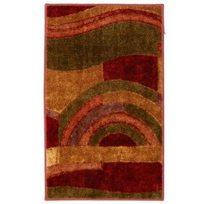 Piscasso Wine 4 ft. x 6 ft. Machine Washable Abstract Area Rug