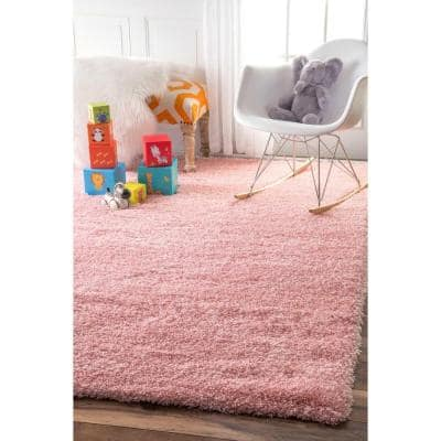 Gynel Solid Shag Baby Pink 5 ft. x 8 ft. Area Rug