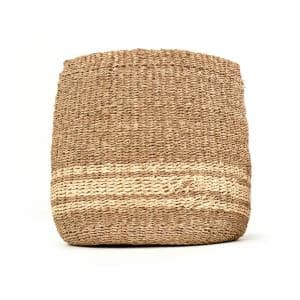 Concave Hand Woven Wicker Seagrass and Palm Leaf with Light Pin Stripes Large Basket