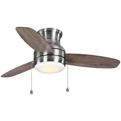 Ashby Park 44 in. White Color Changing Integrated LED Brushed Nickel Ceiling Fan with Light Kit and 3 Reversible Blades