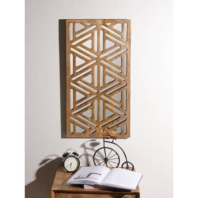 Rectangular Wood Geometric Overlay Mirrored Wall Panel with Natural