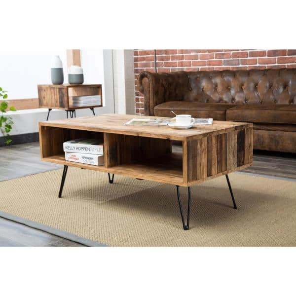 Crawford Burke Turner 42 In Natural Large Rectangle Wood Coffee Table With Shelf 10921ct The Home Depot