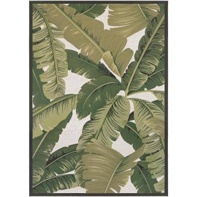 Dolce Palm Lily Hunter Green-Ivory 2 ft. x 4 ft. Indoor/Outdoor Area Rug