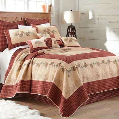 Pine Lodge 3-Piece Gold Cotton Queen Quilt Set