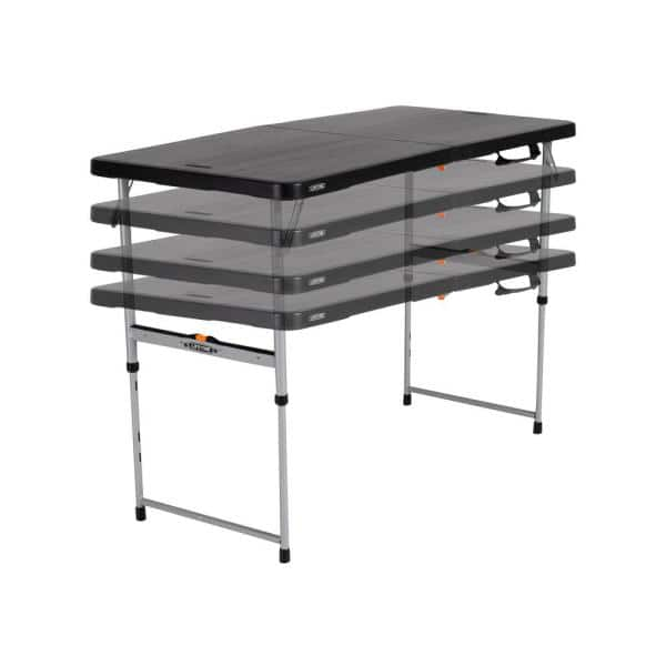 Lifetime 4 Ft Black Resin Adjustable Height Fold In Half Folding Table 80869 The Home Depot