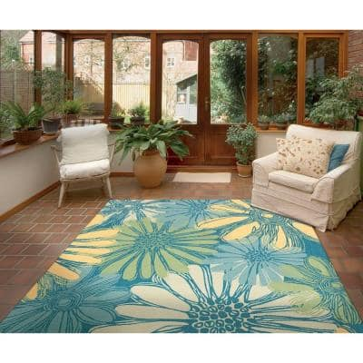 Home and Garden Daisies Blue 8 ft. x 11 ft. Floral Contemporary Indoor/Outdoor Area Rug