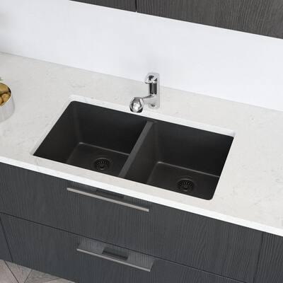Carbon Granite Quartz 33 in. Double Bowl Undermount Kitchen Sink Kit