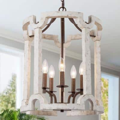 Farmhouse Distressed White Drum Chandelier 5-Light Rustic Bronze Candlestick Cage Island Chandelier Pendant