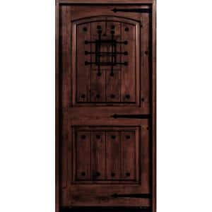 32 in. x 80 in. Mediterranean Knotty Alder Arch Top Red Mahogony Stain Left-Hand Inswing Wood Single Prehung Front Door