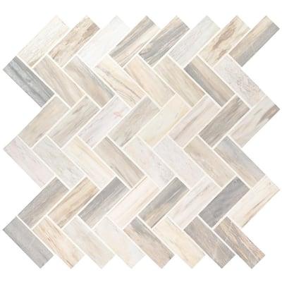 Take Home Tile Sample - Angora Herringbone 6 in. x 6 in. x 10mm Polished Marble Mesh-Mounted Mosaic Tile - 6 in. x 6 in