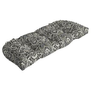 Rectangle Outdoor Wicker Settee Cushion in Black Aurora Damask