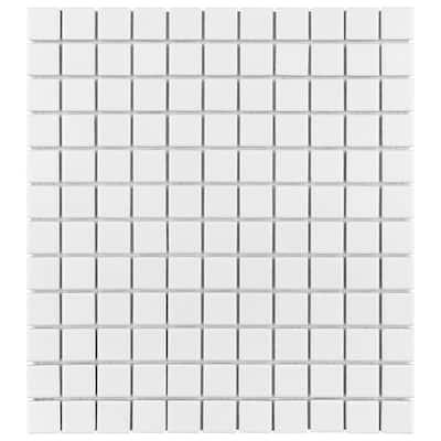 Metro Square Matte White 11-3/4 in. x 12-7/8 in. Porcelain Mosaic Tile (10.72 sq. ft./Case)