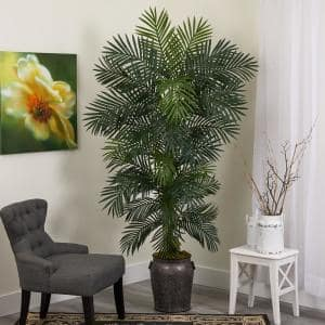 6.5 ft. Golden Cane Artificial Palm Tree in Metal Planter