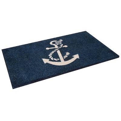 Nautical Anchor 24 in. x 36 in. Coir Outdoor Door Mat Welcome Mat