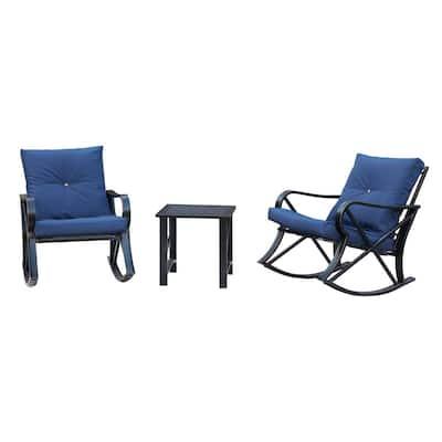 3-Piece Metal Patio Rocker Conversation Set with Blue Cushions