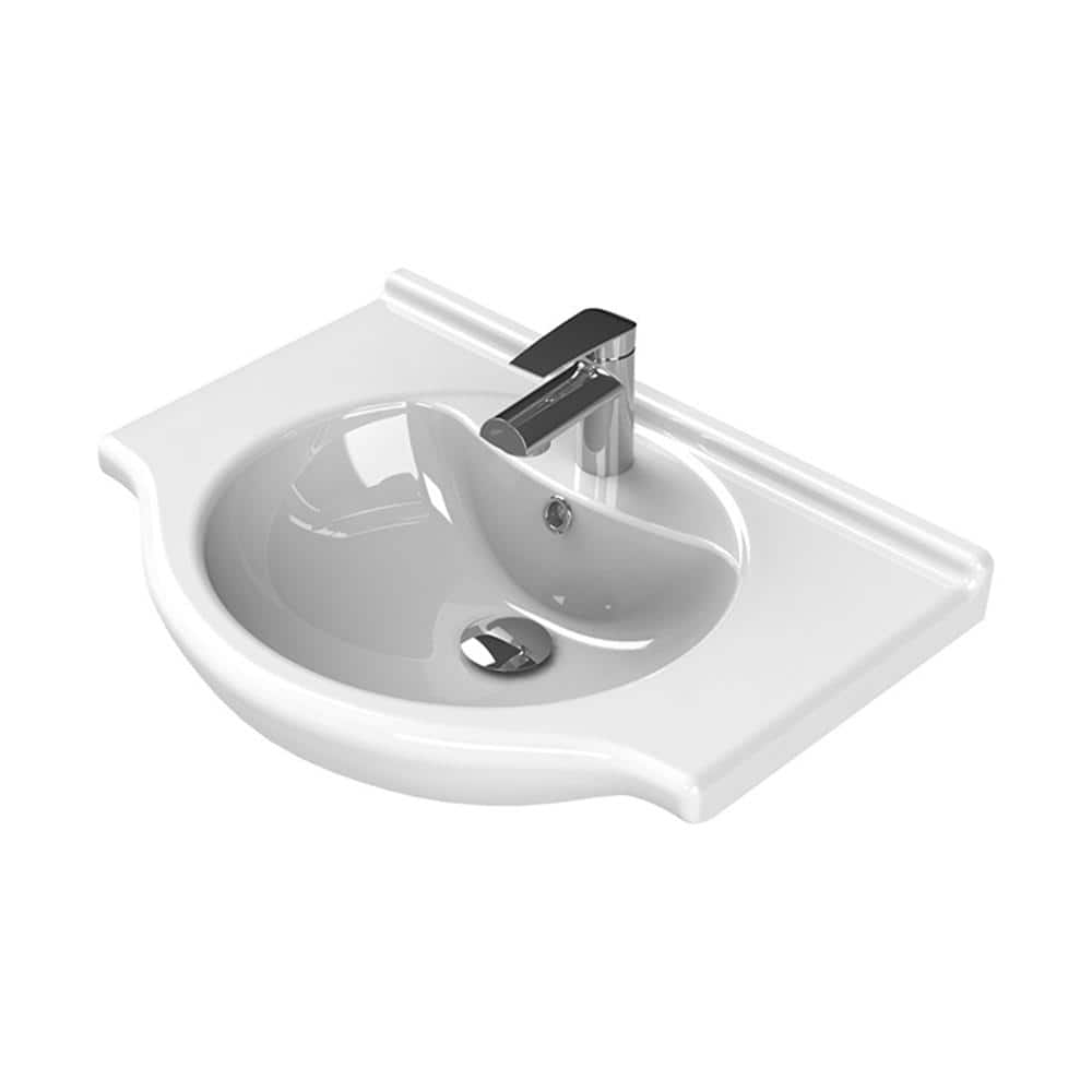 Nameeks Nil Wall Mounted Bathroom Sink In White Cerastyle 066100 U One Hole The Home Depot