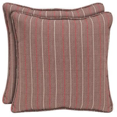 CushionGuard Aubergine Elle Stripe Square Outdoor Throw Pillow (2-Pack)