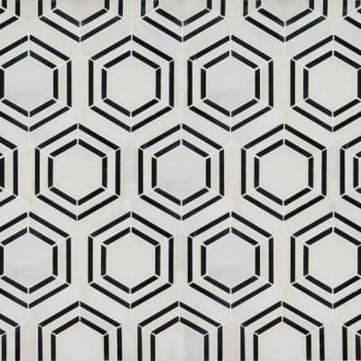 Georama Nero 13 in. x 11 in. x 10 mm Polished Marble Mosaic Tile (9.9 sq. ft. / case)