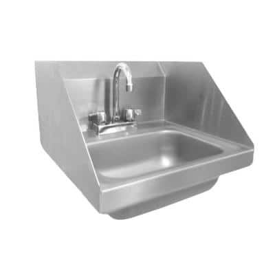17 in. Wall Mount Stainless Steel 1 Compartment Commercial Hand Wash Sink with Endsplash and Faucet