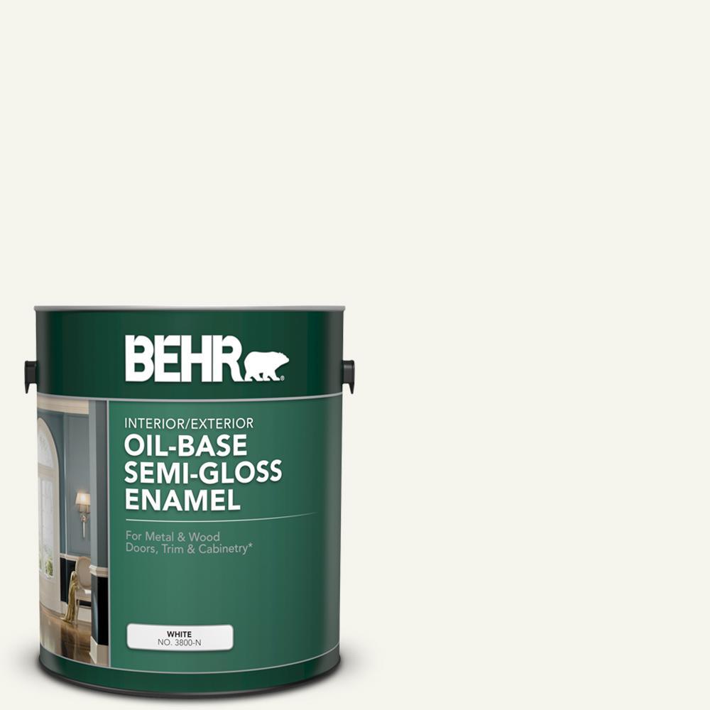1 gal. White Oil-Base Semi-Gloss Enamel Interior/Exterior Paint