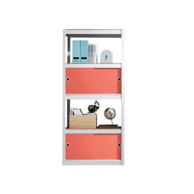 Kepsuul 32 in. W x 16 in. D x 77 in. H White Four Shelf + 2 Coral Door Customizable Modular Wood Shelving and Storage