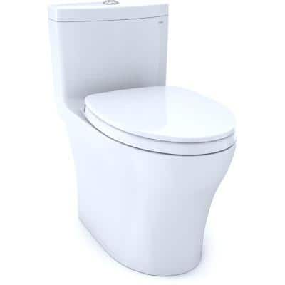 Aquia IV 1-Piece 0.8/1.28 GPF Dual Flush Elongated Toilet with CeFiONtect in Cotton White